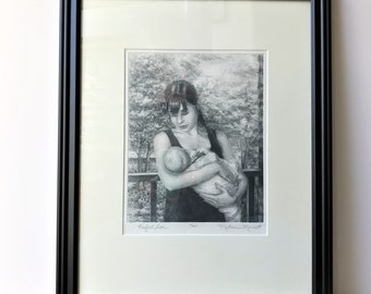 Perfect Love,drypoint etching,printmaking,mother n child art,a mother's love,mother's day,new baby gift,mom to be gift,fine art,collectible
