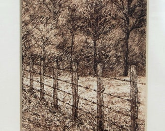 """Taken from etching,  """"Fresh Sign"""", cameo of field, country landscape"""