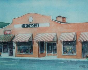Objects, Watercolor of storefront in Fairhope, AL, Eastern Shore