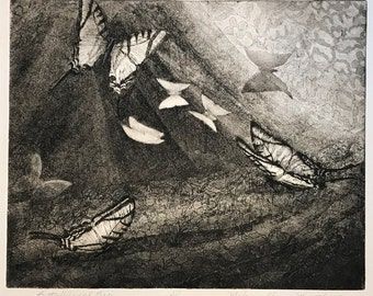 Butterflies fine art etching, Butterflies and Lace contemporary dreamscape art, Perfect butterfly enthusiast gift, peaceful art for bedroom