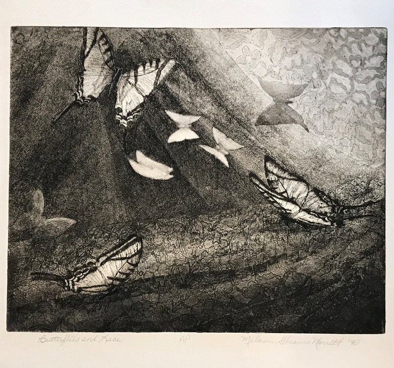 Butterflies fine art etching Butterflies and Lace image 0