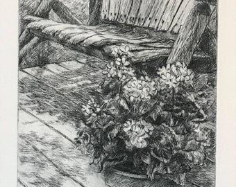 Supinski's Treasure, fine art, printmaking, drypoint, floral art