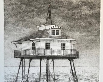 Middle Bay Light, Mobile AL, etching, printmaking, lighthouse art, Eastern Shore Art