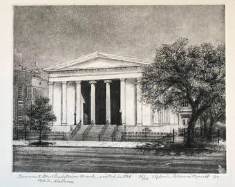 Government Street Presbyterian Church, Mobile AL, etching, fine art print, religious art