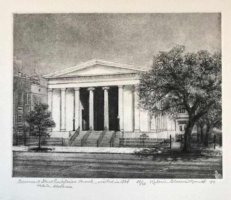 Government Street Presbyterian Church Mobile AL etching image 0