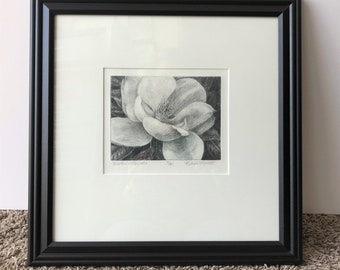 Heather's Magnolia,drypoint etching,limited edition,magnolia floral art,fine art,collectible,magnolia art,Mother's Day,Southern Magnolia art