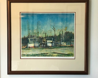 Uncertain Destinies, Nautical Art,Archival Framed 4 color etching of shrimp boats at Dog River Marina, Dauphin Island, Mobile, Printmaking