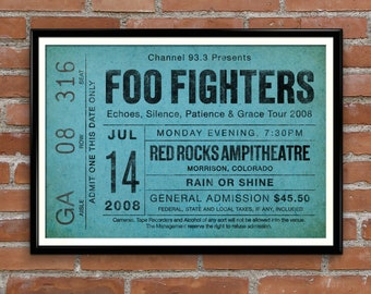 Foo Fighters inspired poster, oversize ticket stub, gig poster, Foo Fighters, Favourite singer, Favourite Concert