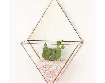 Geometric glass terrarium - Wall planter indoor - Triangle mirror - Fairy garden - Stained glass terrarium - Terrarium container - Home deco