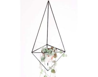 Indoor planter - Geometric glass terrarium - Terrarium container - Handmade stained glass terrarium - Air plant holder - Modern planter