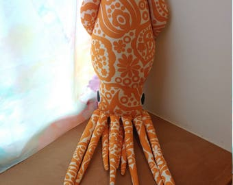 Pumpkin Paisley Squid Plush