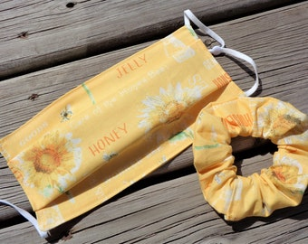 Scrunchie and Mask set - Honey Bee