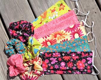 Scrunchie and Mask set, Hair Tie, Fabric Face Mask