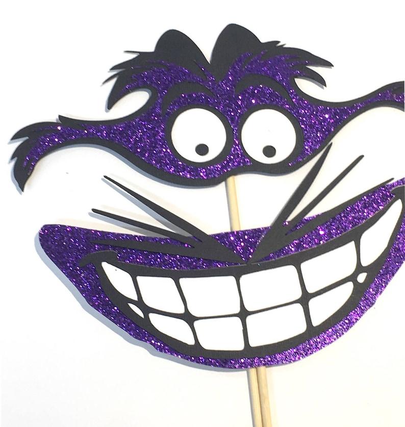 Photo Booth Props Alice In Wonderland Cheshire Cat Grin Glitter Purple