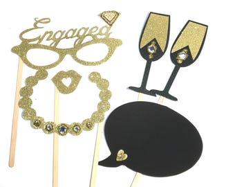 Photo Booth Props - Mini Engagement Photo Booth Props 6PC