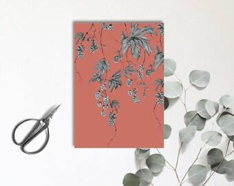 Houblon - brique douce - Carte postale illustrée - dessin à la main - tirage numérique en couleur - monocotylédone