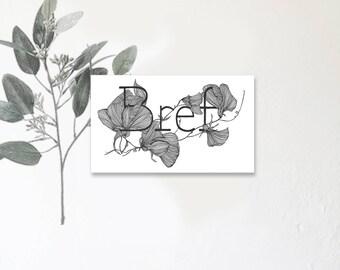 Bref - mon amour - Carte illustrée avec message - Dessin à la main - Pois de senteur - tirage limité - monocotylédone