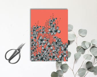 Hortensia corail - arbuste à fleurs multiples - Carte postale illustrée - dessin à la main - tirage numérique en couleur - monocotylédone