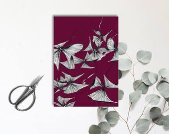 Oxalis  Triangularis Pourpre - Carte postale illustrée - dessin à la main - tirage numérique en couleur - monocotylédone