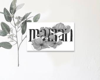 Maman - Carte illustrée avec message - Dessin à la main - magnolia - fête des mamans - tirage limité - monocotylédone