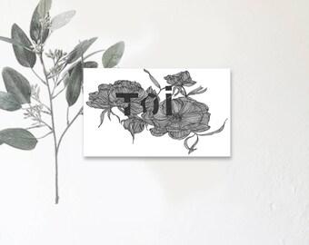 Toi - mon amour - Carte illustrée avec message - Dessin à la main - Anémone - Fleurs d'hiver - tirage limité - monocotylédone