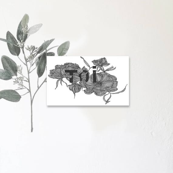 Toi Mon Amour Carte Illustrée Avec Message Dessin à La Main Anémone Fleurs Dhiver Tirage Limité Monocotylédone