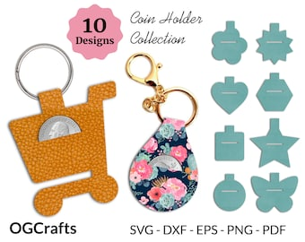 Coin Holder SVG, Quarter Keeper Template, Keychain Coin Purse SVG Bundle, Cricut Folded Coin Fob, Faux Leather Aldi Cart Keyring, No Sew