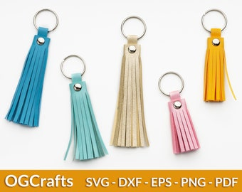 Tassel SVG, Tassel Keychain Template, Faux Leather Key Chain, Bag Tag SVG File, Purse Fob Svg, Tassel Charm, SVG files for Cricut Silhouette