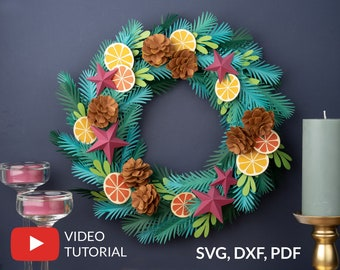 Christmas Paper Wreath SVG Template + Video Tutorial, Winter Paper Decoration, Paper Pine Cone, Spruce Branch, 3D Star SVG files for Cricut