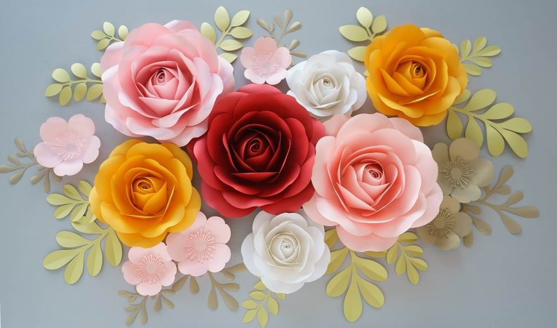 Paper Roses Video Course Paper Flower Template Paper Rose Template Giant Paper Flowers Paper Flowers Backdrop Diy Paper Flower