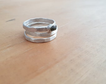 Raw Sapphire Silver Ring Stack - Jewellery for the Indie Goddess