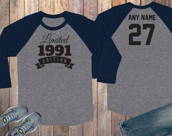 27th Birthday Gift For Men And Women Idea Limited Edition Celebration 27 Year Old Raglan Baseball