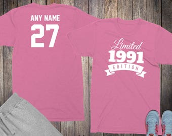 27th Birthday Gifts For Women Shirts 27 Year Old 1991 Shirt Her