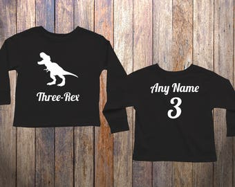 3 Year Old Dinosaur Birthday Long Sleeve Shirt Three Rex Niece Nephew Son Daughter Gift T Dino