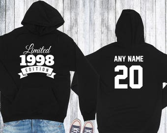 1998 Birthday Hoodie 20 Year Old Limited Edition 20th Gift For Boyfriend