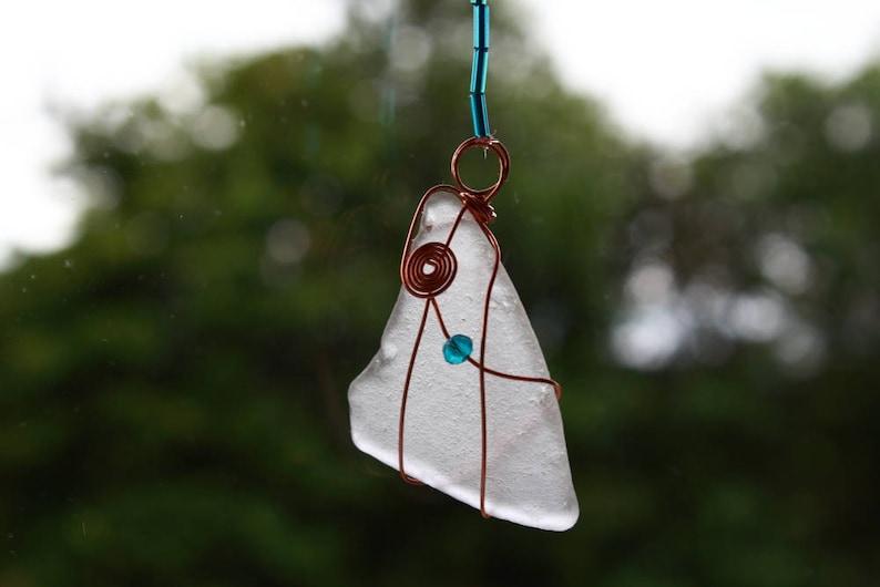 Sea Glass Crafts Sea Glass Ornament Sea Lover Gift Genuine Sea Glass Wire Work Beaded Suncatcher Boho Suncatcher Sea Glass Suncatcher