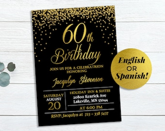 60th birthday invite etsy 60th birthday invitation gold glitter invite 5x7 adult invitation digital file jpg pdf elegant invitation women invitation filmwisefo