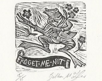 Froggy Went A Courting, Wood Engraving, engagement, wedding celebration