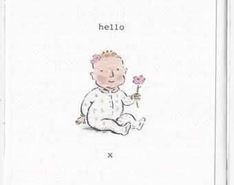 Hello Baby Girl birthday greetings, celebration card