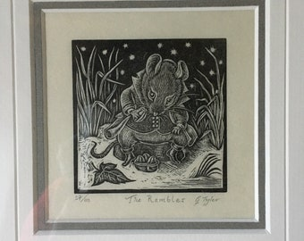 The Rambler- Original Wood Engraving by Gillian Tyler. Mouse/winter/hand printed / collectible