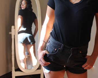Black Levi Cutoff Denim Shorts
