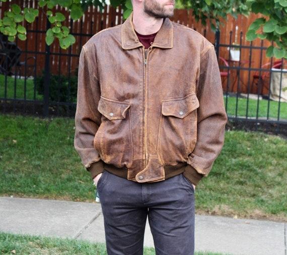 Large Men's Vintage Leather Brown Jacket