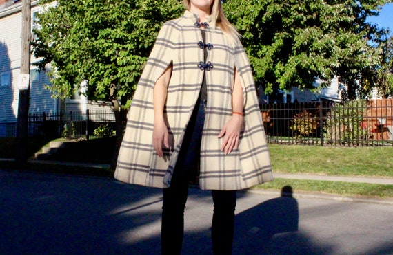 60s Vintage Wool Cape Jacket
