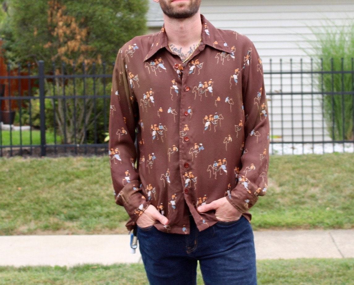 1970s Mens Shirt Styles – Vintage 70s Shirts for Guys 70s Mens Long Sleeve Shirt $5.50 AT vintagedancer.com