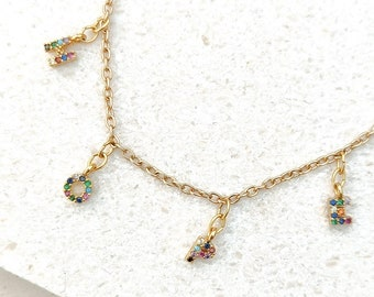 HOPE gold word necklace with sparkling rainbow crystals / diamanté letters on 16 inch gold cable chain