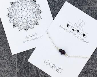 January birthstone, garnet bracelet, Boho jewellery, boho bracelet ideas, healing crystals beaded bracelet, healing crystal gift, yoga lover