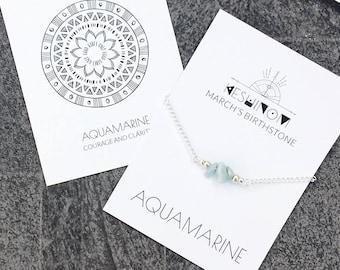 March birthstone, aquamarine bracelet, blue crystal bracelet, meaningful jewelry, healing crystals beaded bracelet, healing crystal gift