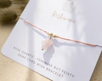 Rose quartz crystal charm and pink hemp string wish bracelet, gift idea for best friend, sister, or co-worker