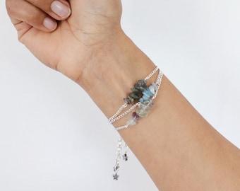 Gift for yoga lover, healing crystals stacking bracelets, labradorite, aquamarine, fluorite, Ibiza boho style, boho bracelet, hematite star