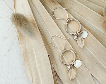 Moonstone drop earrings, modern minimalist style dangly earrings with silver circles and greige moonstone, boho bridal earrings